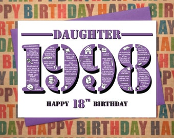 Happy 18th Birthday Daughter Greetings Card - Born In 1998 British Facts A5 Female / Womens Purple