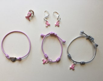 Pink awareness jewelry set