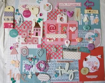 Pink and blue mini scrapbooking kit!