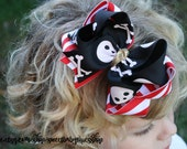 Arrrggghhh Pirate Boutique Bow,Baby hair bow, toddler bow,big girl hair bow, cruise hair bow, pirate princess