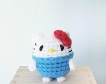 Amigurumi Hello Kitty - Crochet Animal Plush, Amigurumi plush, small crochet toy, Hello kitty, handmade toy, handmade penguin plush