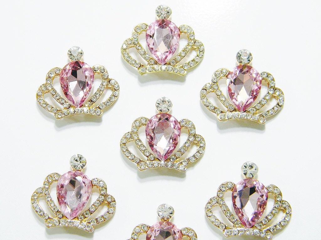 Tiara Small Gold Metal Pink Rhinestone Crown Embellishment