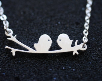 Birds on a twig necklace