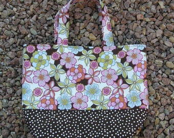 Brown and Pink Floral Tote Large