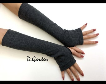 Medium Grey Cotton Strechy Knitted Cut & Sewn Soft Fingerless Arm Warmers Great For Party and Prom