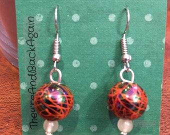 Orange Crackle&GlowInTheDark Bead Earrings