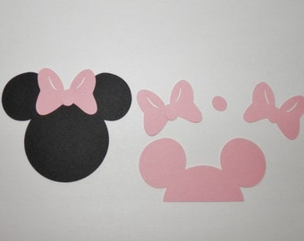 Minnie Mouse Die Cuts, Paper Punches with Bow 25 pieces - Size 1 inch , 1.25 , 1.5 and Color Choice
