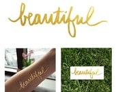 2 PACK Beautiful Script Metallic Temporary Tattoo