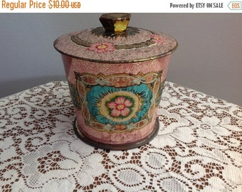 Spring Sale Vintage Tin Pink and Green Floral Tin Made in England