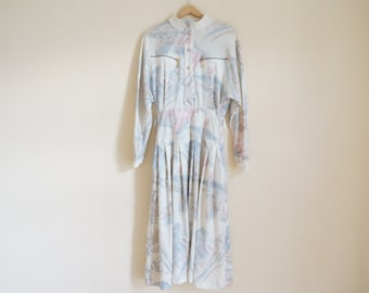 Vintage 80s Dress / Vintage Long Sleeve Dress