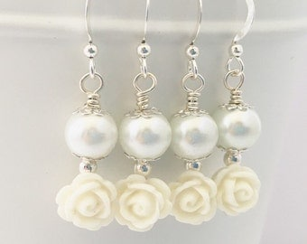 Sterling Silver Flower Girl Earrings • Flower Girl Jewelry • Flower Girl Gift • Girls Earrings • Children's Jewelry • Girls Pearl Earrings