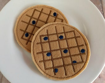 Felt Food Blueberry Waffle Play Set, 2 Pieces, Embroidered Acrylic Felt, USA Made, Play Food, Pretend Play, Breakfast Play Set