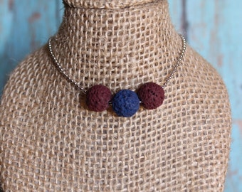 Faux Lava Rock Necklace - Lava Rock Jewelry - Maroon Lava Rock Necklace - Faux Lava Bead Necklace - Round Beaded Necklace - Quirky Jewelry