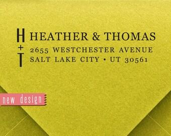 CUSTOM address STAMP from USA, pre inked stamp, Wedding Stamp, rsvp stamp, return address stamp with proof - Monogram Address Stamp Rb5-3