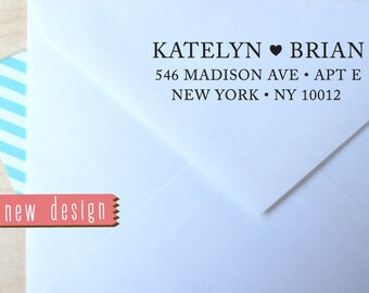 CUSTOM address STAMP from USA, pre inked stamp, Wedding Stamp, rsvp stamp, return address stamp with proof - Wedding Stamp with heart b5-100