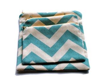 Reusable Zipper Snack Sandwich Bags set of 3 , 2, 1 Aqua Blue Chevron Cotton Twill
