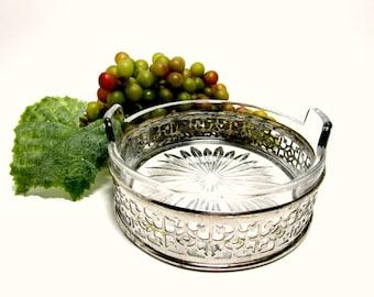 Vintage Silver Plate Wine Bottle Coaster, Starburst Glass Handled Insert, Gift for Wine Lovers