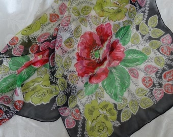 Vintage pink, red, green and BLACK silk scarf, hand rolled hem, retangular (oblong), red poppies and yellow roses