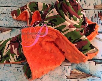 Items Similar To Snow Camo And Orange Baby Blanket Orange