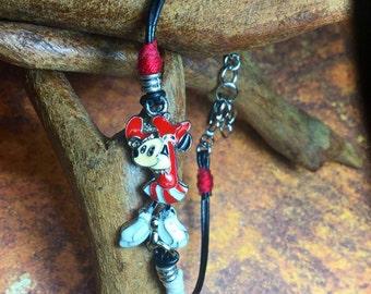 Minnie Mouse Charm Leather Bracelet