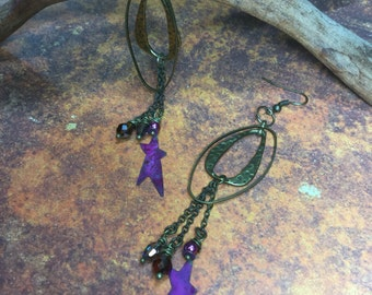 Brass oval hooped, crystal, star dangling Earrings