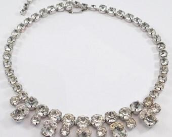 Eisenberg Crystal Ornate Necklace Vintage Rhinestones