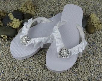 Bridal Flip Flops Wedding Flip Flops White Flip Flops Rhinestone Ribbon Pearl Bridsmaid  Flip Flops