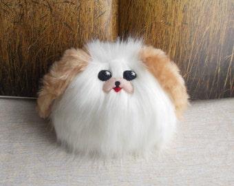 Dog, small dog, Pekingese, Shih Tzu, kawaii plushies, stuffed dog, dog plush, stuffed animal, fluffy dog, little dog, WHITE, Light Beige