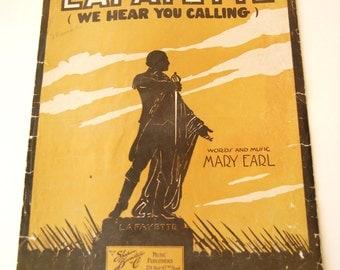 Antique Sheet Music, Lafayette We Hear You Calling