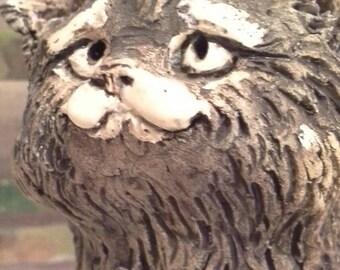 Original earthenware cat sculpture.