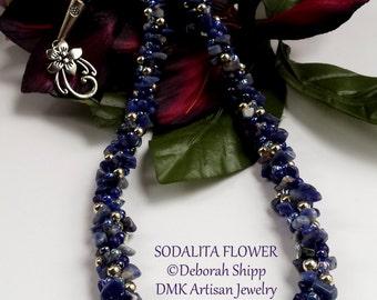 Sodalita Flower Kumihimo Necklace