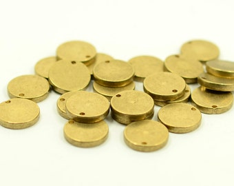 """10 pcs. 12 mm (15/32"""" ) Raw Brass 12 gauge (2 mm thick ) Solid Brass Stamping Blanks 1 Hole"""
