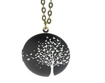 Butterfly tree charm necklace