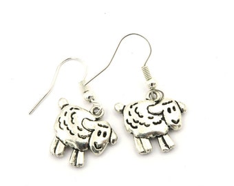 Sheep earrings silver colors