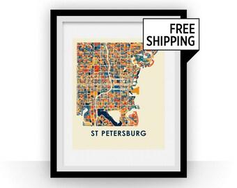 St Petersburg Florida Map Print - Full Color Map Poster