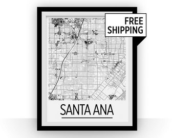 Santa Ana Map Poster - usa Map Print - Art Deco Series