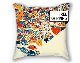 Singapore Map Pillow - Malay Peninsula Map Pillow 18x18