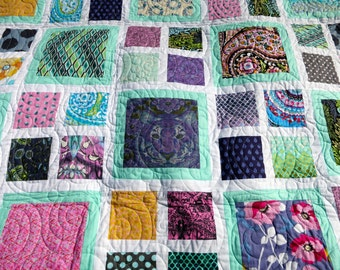 Modern Quilt - Tula Pink Quilt - Twin Bed Quilt - Double Bed Quilt - Quiltsy Handmade