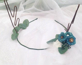 Woodland Blue Pansy Rose Flower Gold Bead and Sequin Deer Antlers Hair Wreath Festival Crown Head Band Dress up Deer