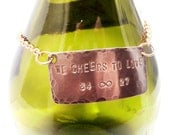 Personalized Copper Bottle Tag, Decanter Tag, Label with Chain, Custom Handstamped Message Names Date, Wedding, Anniversary Holiday Gift