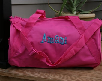 Monogrammed Pink Duffel Bag Personalized Overnight Bag