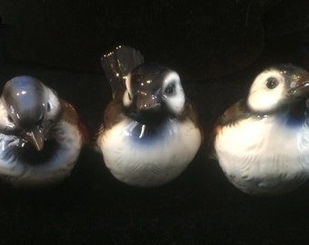 Trio of Vintage Porcelain Sparrows - Marked Goebel