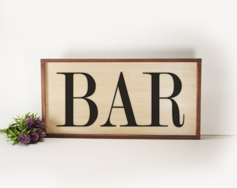 BAR- Framed Hand Painted  Wood Sign Made From Reclaimed Wood- Rustic-Farmhouse Decor-Home Decor-Kitchen Decor- Country Decor