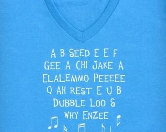 SALE - ABC - Funny Alphabet Song Ladies V-neck Aqua Blue Graphic T-shirt // Preschool Teacher // Kindergarten // Childrens Song