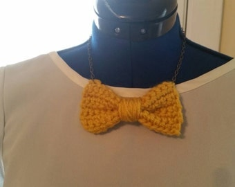 Crochet bow necklace crochet necklace yellow crochet bow necklace crochet jewelry mustard yellow necklace