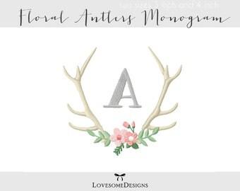 Floral Antlers Monogram Set Two Sizes Embroidery Font, Machine Embroidery Design, Monogram Font Embroidery, Antlers Monogram