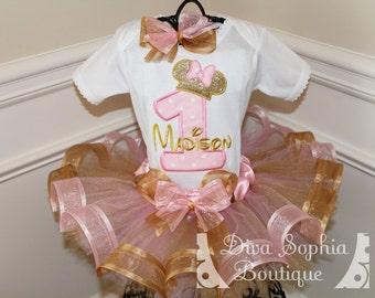 Pink and Gold Minnie Mouse Birthday Ribbon Tutu Set