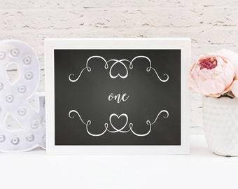 Wedding Table Numbers 1-20 / 5x7 Table Numbers / Chalkboard Heart Table Numbers / Love Table Numbers / Black and White Table Numbers