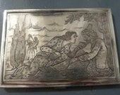 One of a kind gift ideas UNIQUE antique gifts fully hallmarked solid silver PERSIAN ALLEGORICAL cigarette case silver wedding presents