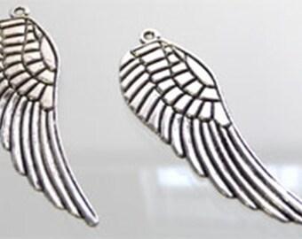 2 silver wings, Angel Wings pendant 50 x 16 mm